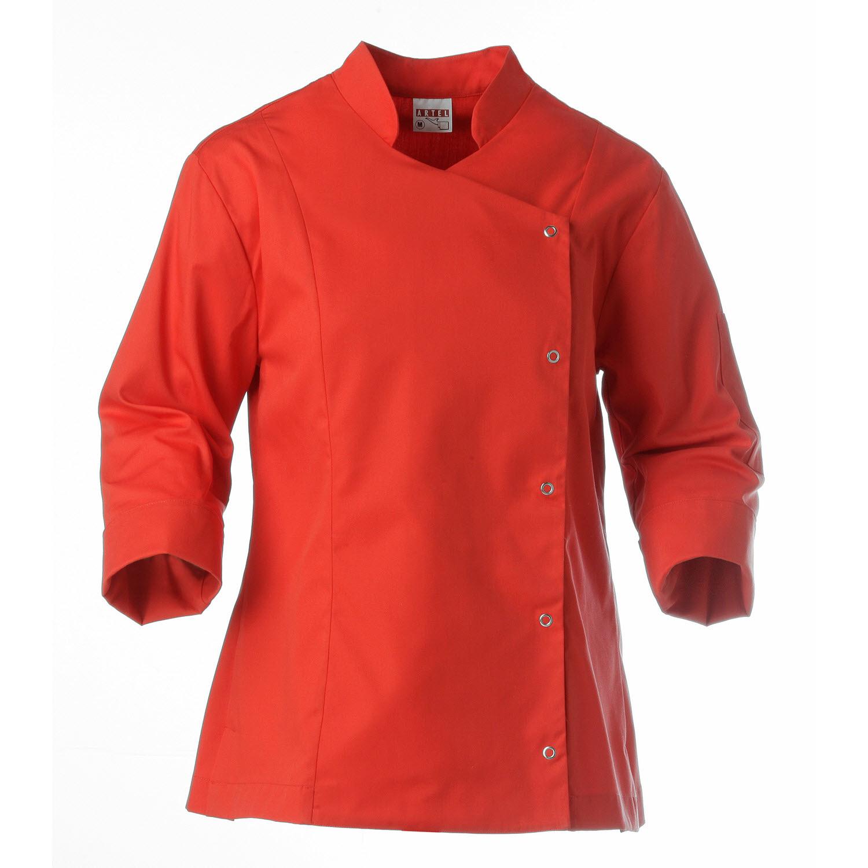 Chaqueta de cocina roja de mujer con cierres artel uniformes for Chaquetas de cocina originales